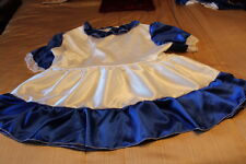 adult baby/sissy/crossdresser, girly dress  white, royal blue  satin, lace trim