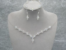 Crystal Collier Bracelet Boucle D'Oreille Jewelry Ensemble Demoiselle d'honneur robe de mariage de bal A77
