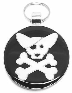 Engraved Pet Tag CROSSBONES - Free Name & Phone number engraved on tag