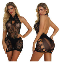Women's Fishnet BODYSTOCKINGS Sexy Lingeries crotchless Babydoll Nightwear 8805
