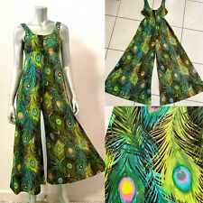 Vintage 60s Peacock Feathers Print Palazzo Jumpsuit XS/S Green Boho