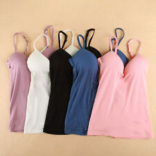 Women Padded Bra  Cami Tank Tops Camisole Casual Vest Blouse Top Built in Bra