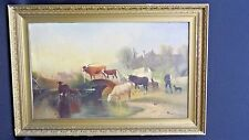 Vintage Oil Painting By P. Vautier Cows by the water as is for restoration