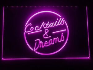 Cocktails and Dreams Neon LED Light Bar Pub Sign Decoration Display Party Gift