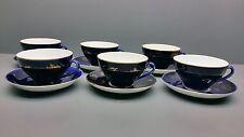 6 Tee / Kaffeetassen + Untere - Lomonosov - Kobalt / Gold