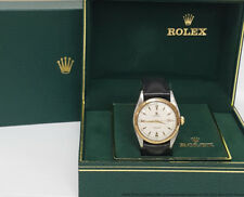 6075 Rolex Oyster Perpetual Red Date 18k Gold Steel Bubbleback 1950s Watch w Box