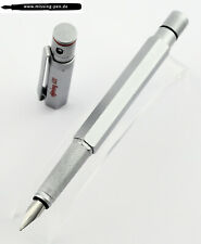 Old Rotring 600 Fountain Pen Silver with Knurled Grip & M-nib (little scratch)