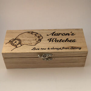 Wooden Watch Box personalised pyrography gift with cushions
