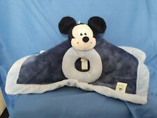 """RARE - Disney Baby Mickey Mouse Lovey Security Blanket Rattle 14x13 """" Blue"""