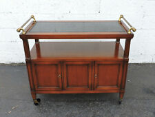 Cherry Serving Bar / Tea Cart with Black Top and  Brass Handles 7461