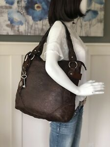 FOSSIL Winslet Brown Leather Embossed Tooled X-Large Hobo Shoulder Handbag EUC!