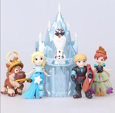 Castle Frozen Elsa Anna Olaf Playset 6 Figure Cake Topper FAST SHIP Toy Doll Set