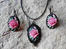 PINK - MAGENTA ROSE (ON BLACK) CAMEO NECKLACE AND EARRINGS SET, VINTAGE LOOK