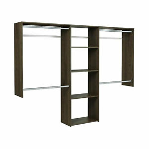 Easy Track Deluxe Starter Closet Storage Organizer System with Shelves, Truffle