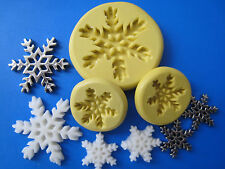 "Snowflake silicone molds, 3 set, great on ""Frozen"" theme cakes, fondant  307-A"