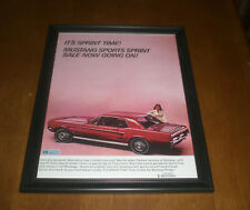 1967 FORD MUSTANG SPORTS SPRINT FRAMED COLOR AD PRINT