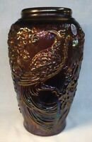 Fenton Art Glass Aubergine Carnival Vase With Raised Tropical Bird Design 2007