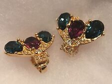 Rare, Mint, CHRISTIAN DIOR Jewel Toned Bee Insect Crystal Earrings in Box