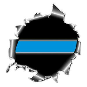 Ripped Metal Bullet Hole Thin Blue Line Police Sticker Decal #147 Made in U.S.A.