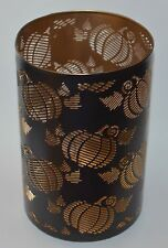 BATH BODY WORKS PUMPKINS BROWN METAL LARGE CANDLE HOLDER LUMINARY 3WICK 14.5 10""