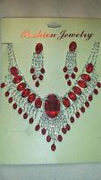 Red Diamante Rhinestone crystal Necklace & earrings set wedding prom