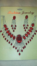 Red Diamante Rhinestone crystal Necklace & earrings set wedding prom