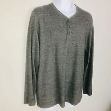 Old Navy Mens Shirt Sz L Gray Long Sleeve Casual Scoop Neck Buttons Crew Th30