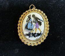 Vintage Porcelain Silhouette Victorian Couple Courting Locket Pendant