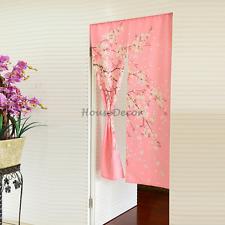 Romantic Oriental Pink Sakura Noren Japanese Curtain Interior Doorway Hanging