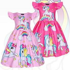 Girls Unicorn Dress Children Kids Party Princess Summer Outfits New Holiday HETD