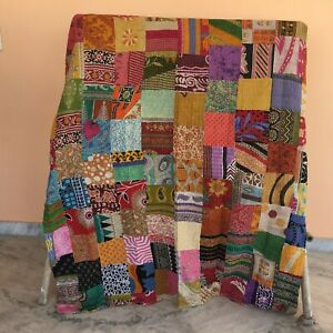 Indian Handmade Patchwork Single Size Cotton Kantha Quilt Throw Vintage Blanket