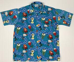 Fabiani Exclusive Men's Short Sleeve Button Up Hawaiian Shirt Size XL Blue