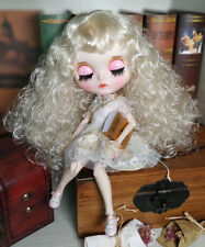 Blythe Nude Doll from Factory Silvery white Hair Make-up Eyebrow Sleeping Eye