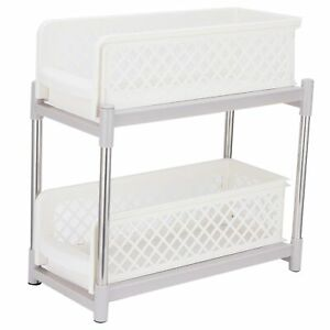 2-Layer Bathroom Sliding Basket Cabinet Organizer With Pull Out Drawers White