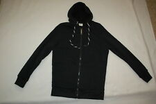 Womens BLACK HOODED SWEAT JACKET Sherpa Lined Body ZIP FRONT Pockets SIZE S 4-6