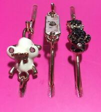 Betsey Johnson 3-Bracelet Set Enamel Crystal Accents Cat Mouse
