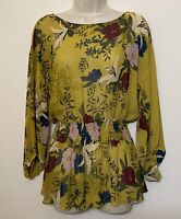 Vince Camuto Small Blouse Yellow Floral Long Sleeve Elastic Waist Peplum Top