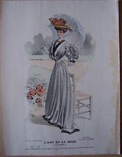 ) gravure ancienne mode couleur L'ART ET LA MODE XXV N° 22 - LUCY
