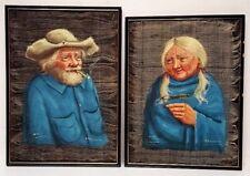 PAIR of Antique Oil Painting HORSE HAIR Horsehair Canvas FOLK ART of MAN & WOMAN