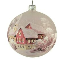 """Christmas Ball Glass Ornament Winter House Hand-blown in Russia 4"""""""