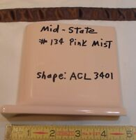 """1 pc. Glossy *Pink Mist* 4"""" X 4"""" Ceramic Cove Base Outside Corner Tile-stack top"""