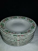 Everyday Gibson Christmas Charm Holly Berry Soup Plates Lot of 8