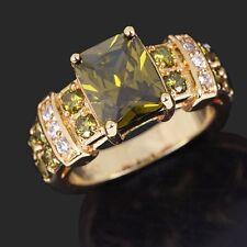 Jewellry Gorgeous Band Size 7 Peridot AAA 18K Gold Filled Anniversary Rings Gift