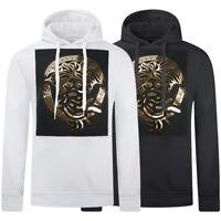 New Men Medusa Gold Embossed Print 3D Hoodie Sweater Long Sleeve Pullover S-3XL