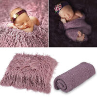 Newborn Baby Photography Photo Props Backdrop Soft Fur Blanket Swaddle Wrap Set