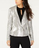 INC Allover-Sequin Blazer Silver Open Front Jacket Sequin Coat 100048187 size L