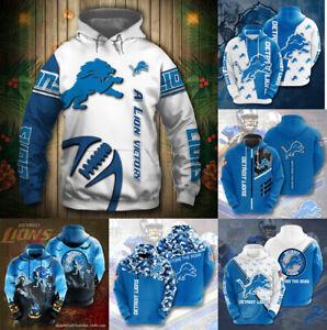 Detroit Lions Men's Footbball Hoodie Casual Hooded Sweatshirt Pullover Jacket