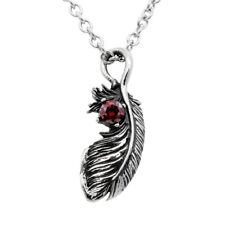 Feather Necklace with Red Cubic Zirconia By Cotrose