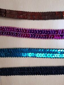 Pailletten (€3/m) 2m Band Borte 1,5 cm breit 2-reihig versch. Farben