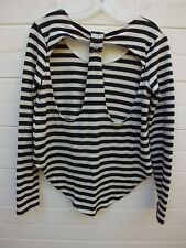 MINK PINK CUTOUT STRIPED BLACK & WHITE HI LOW BLOUSE TOP